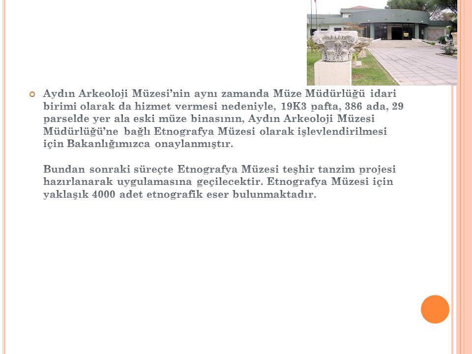 Aydın Arkeoloji Müzesi'nin aynı zamanda Müze Müdürlüğü idari birimi olarak da hizmet vermesi nedeniyle, 19K3 pafta, 386 ada, 29 parselde yer ala eski müze binasının, Aydın Arkeoloji Müzesi Müdürlüğü'ne bağlı Etnografya Müzesi olarak işlevlendirilmesi için Bakanlığımızca onaylanmıştır.