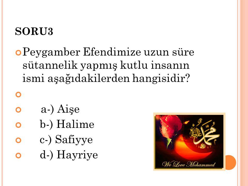 SORU3 Peygamber Efendimize uzun süre sütannelik yapmış kutlu insanın ismi aşağıdakilerden hangisidir