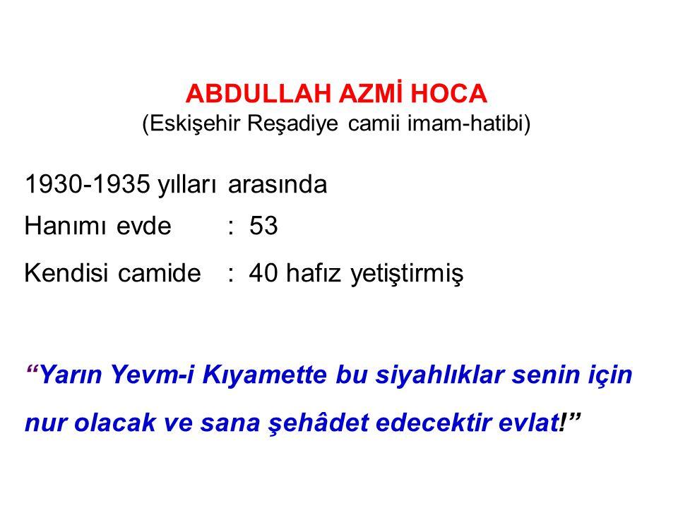 (Eskişehir Reşadiye camii imam-hatibi)