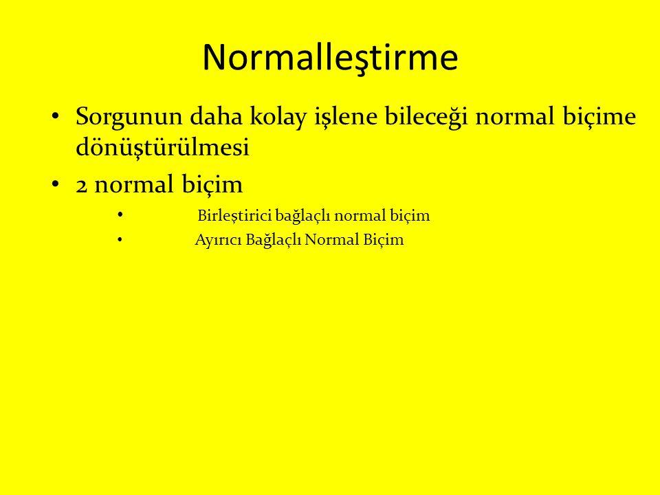 Normalleştirme Sorgunun daha kolay işlene bileceği normal biçime dönüştürülmesi. 2 normal biçim. Birleştirici bağlaçlı normal biçim.