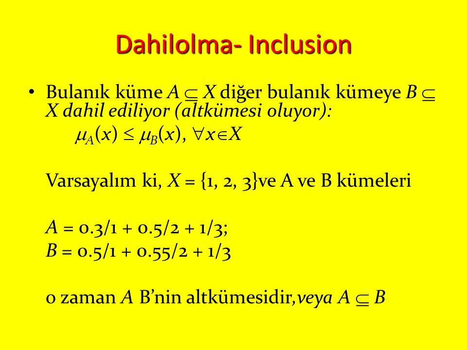 Dahilolma- Inclusion Bulanık küme A  X diğer bulanık kümeye B  X dahil ediliyor (altkümesi oluyor):