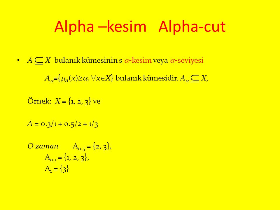 Alpha –kesim Alpha-cut