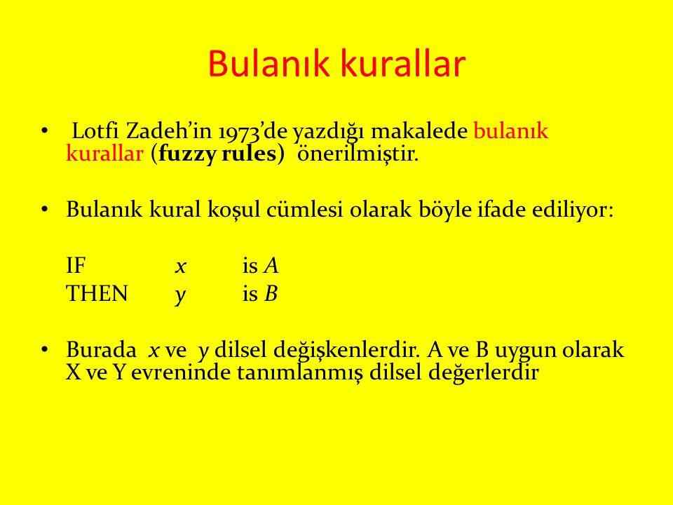 Bulanık kurallar Lotfi Zadeh'in 1973'de yazdığı makalede bulanık kurallar (fuzzy rules) önerilmiştir.