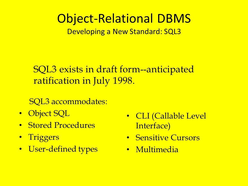 Object-Relational DBMS Developing a New Standard: SQL3