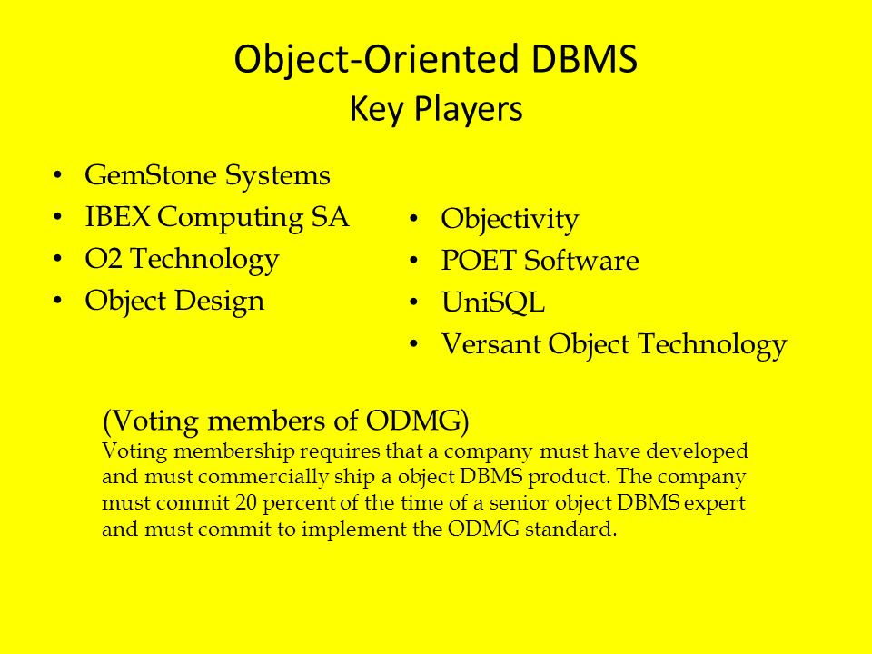 Object-Oriented DBMS Key Players