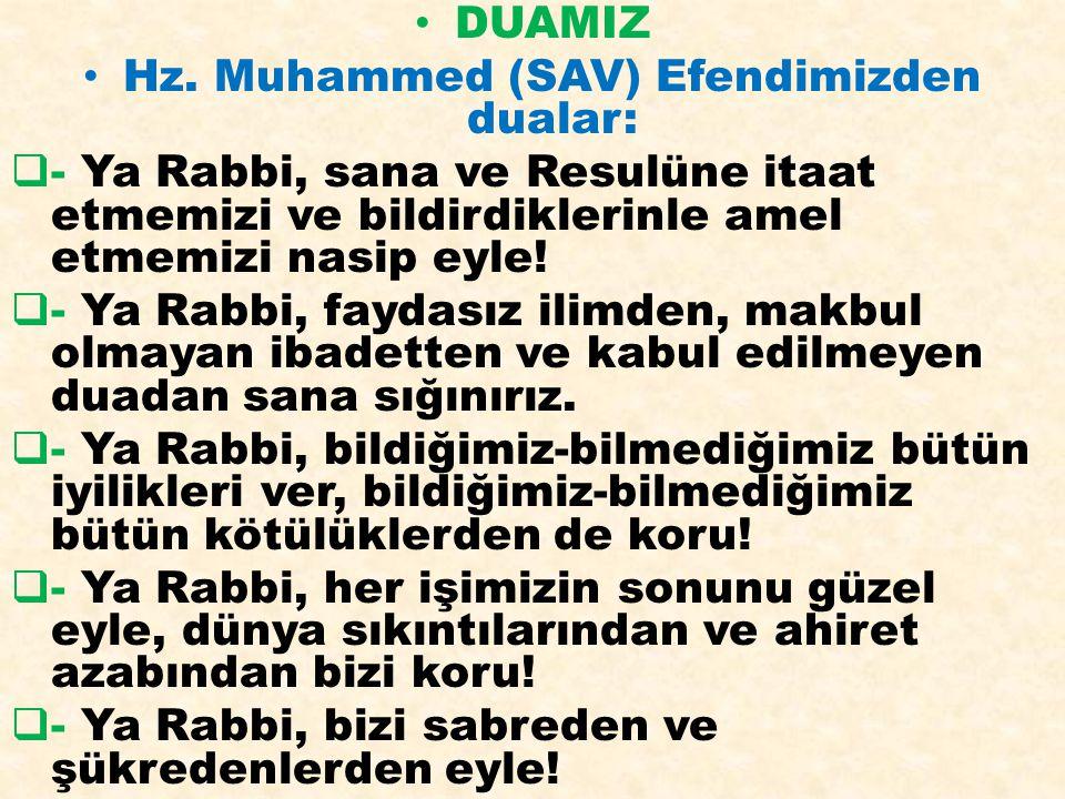 Hz. Muhammed (SAV) Efendimizden dualar: