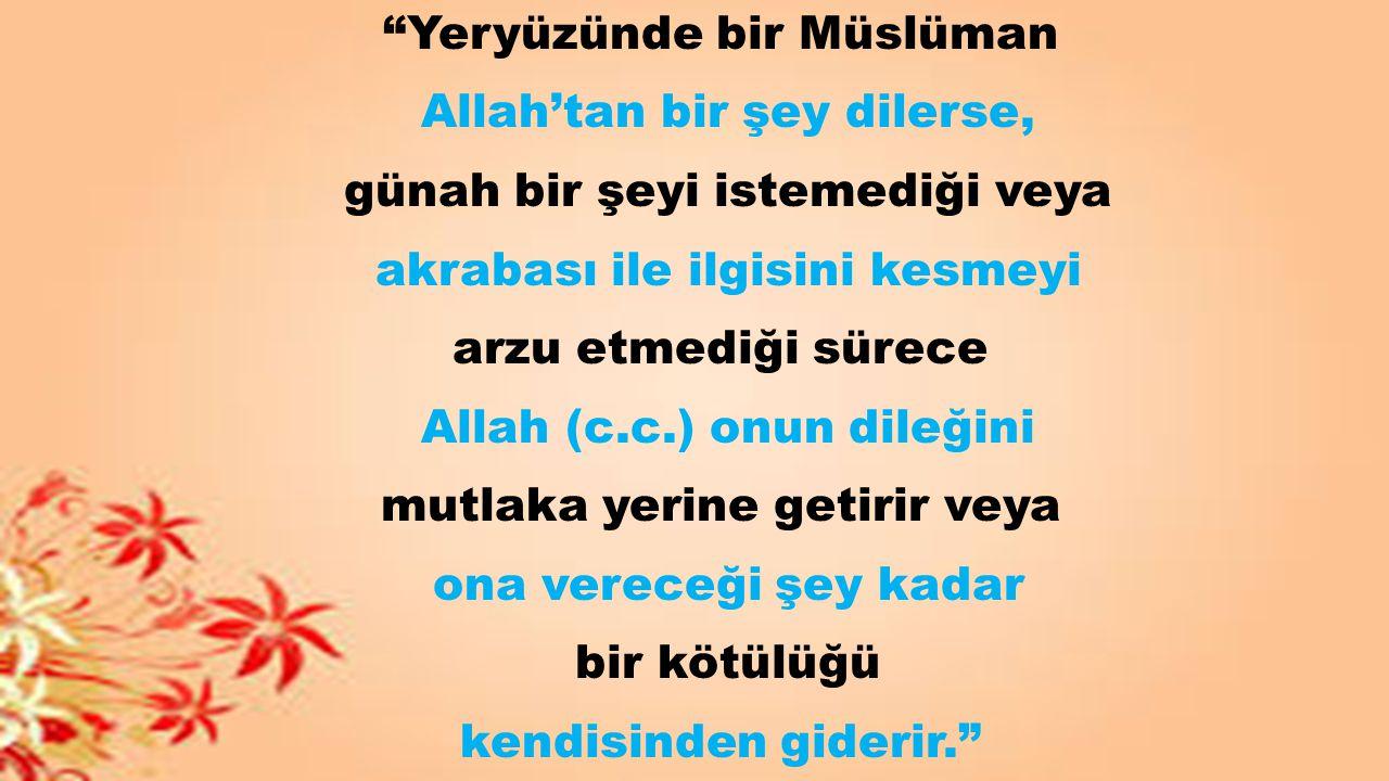 Yeryüzünde bir Müslüman Allah'tan bir şey dilerse,