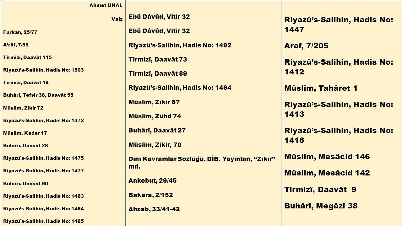 Riyazü's-Salihin, Hadis No: 1447