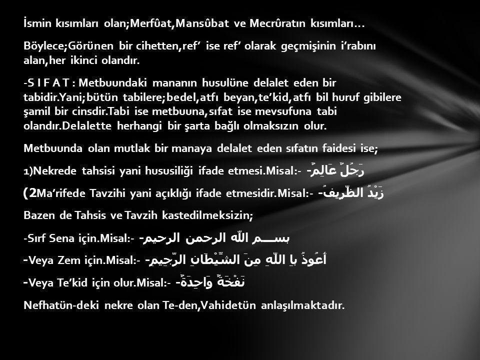 İsmin kısımları olan;Merfûat,Mansûbat ve Mecrûratın kısımları