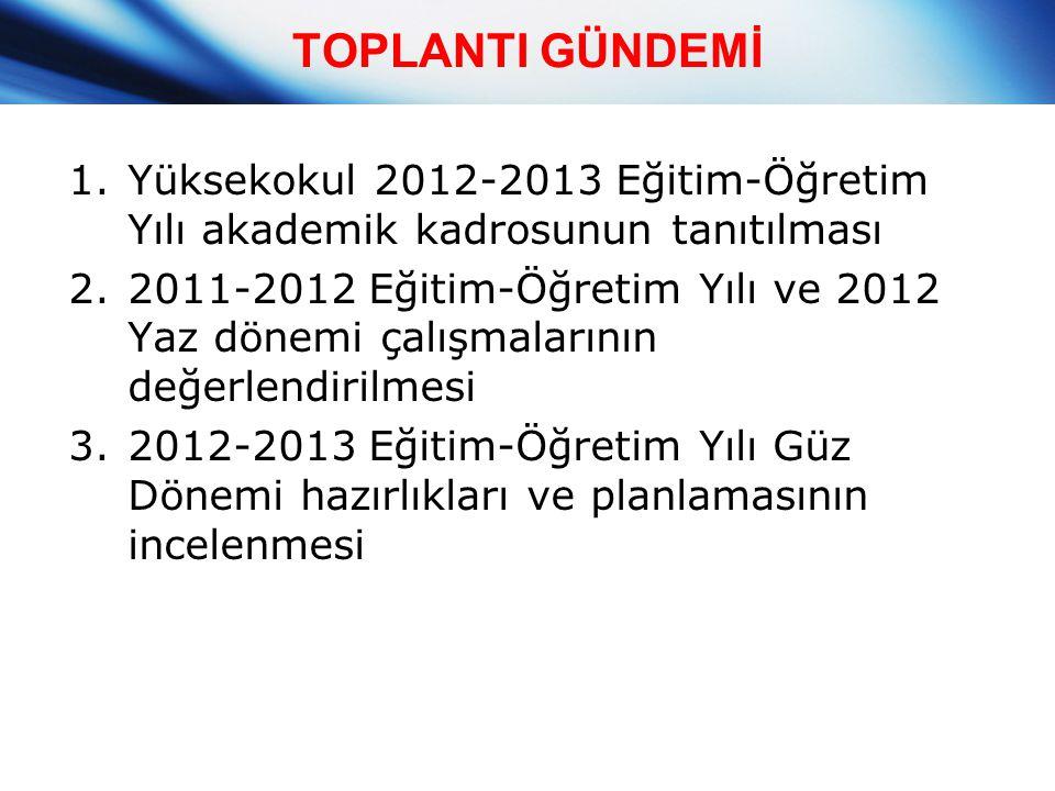 TOPLANTI GÜNDEMİ Yüksekokul 2012-2013 Eğitim-Öğretim Yılı akademik kadrosunun tanıtılması.