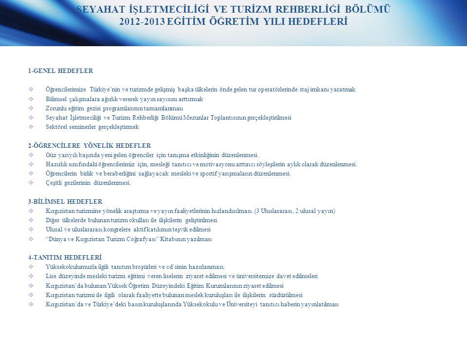 SEYAHAT İŞLETMECİLİĞİ VE TURİZM REHBERLİĞİ BÖLÜMÜ 2012-2013 EĞİTİM ÖĞRETİM YILI HEDEFLERİ