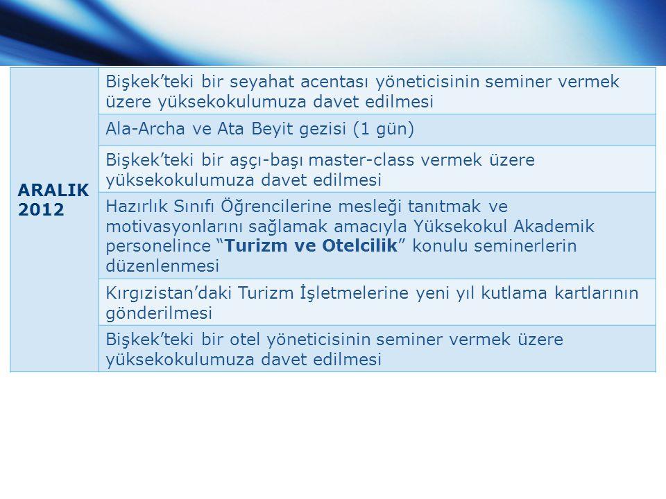 ARALIK 2012 Bişkek'teki bir seyahat acentası yöneticisinin seminer vermek üzere yüksekokulumuza davet edilmesi.
