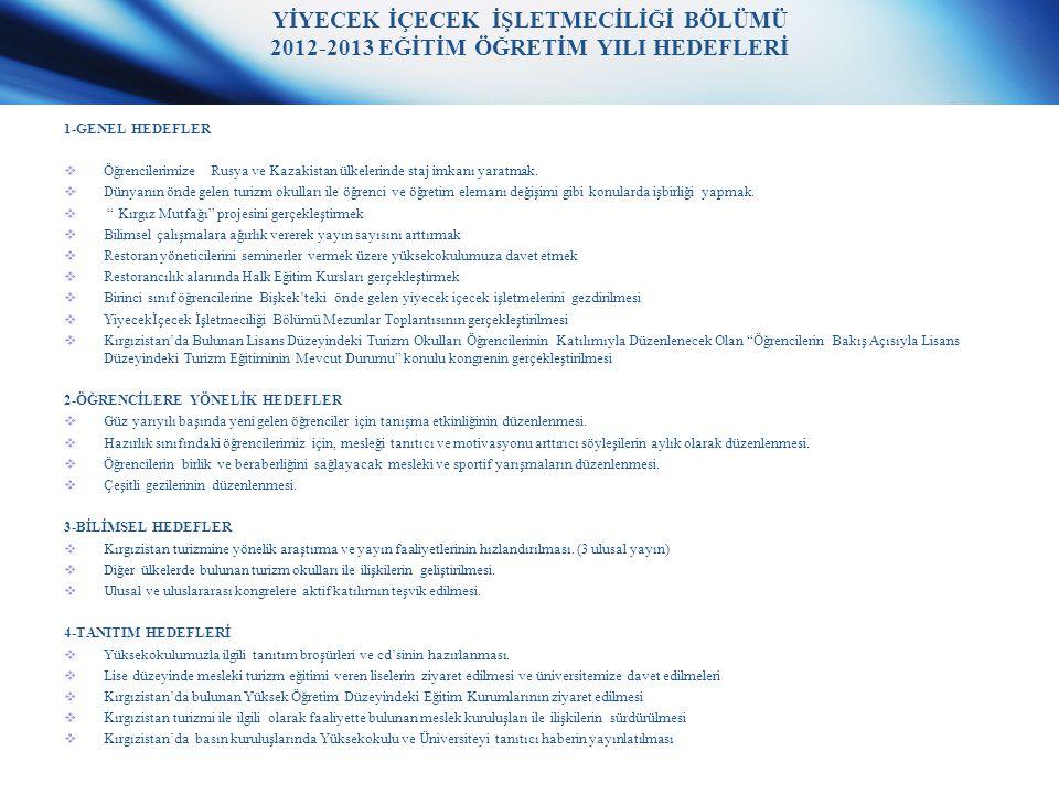YİYECEK İÇECEK İŞLETMECİLİĞİ BÖLÜMÜ 2012-2013 EĞİTİM ÖĞRETİM YILI HEDEFLERİ