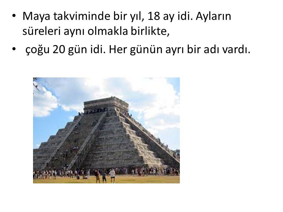 Maya takviminde bir yıl, 18 ay idi