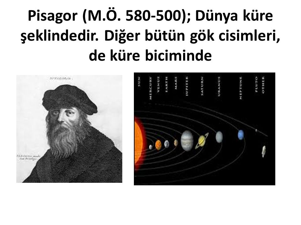 Pisagor (M. Ö. 580-500); Dünya küre şeklindedir