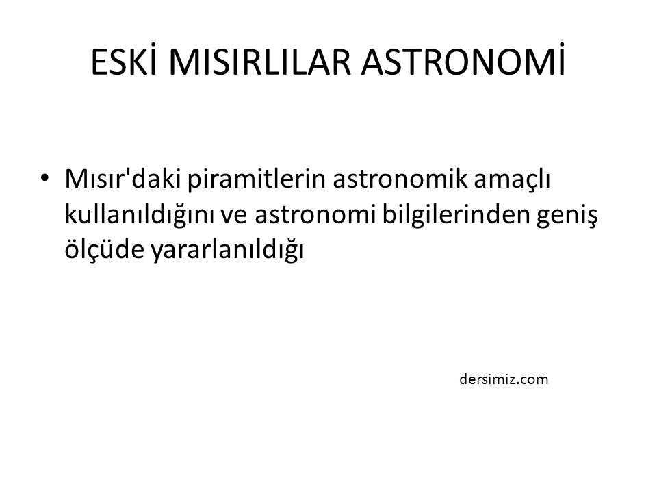 ESKİ MISIRLILAR ASTRONOMİ