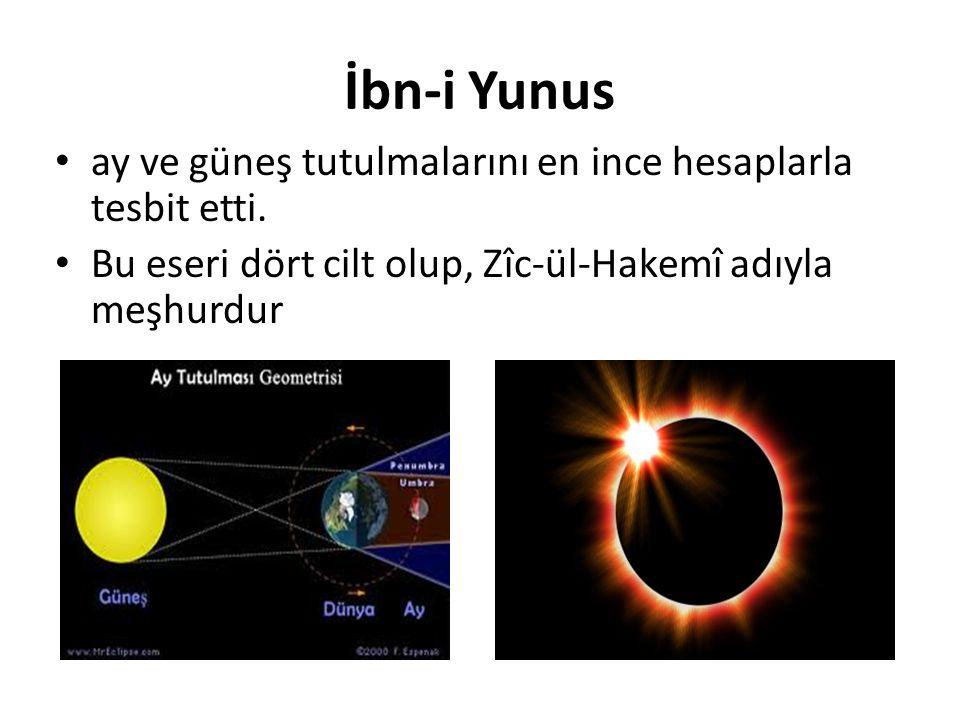 İbn-i Yunus ay ve güneş tutulmalarını en ince hesaplarla tesbit etti.