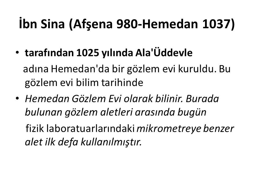 İbn Sina (Afşena 980-Hemedan 1037)