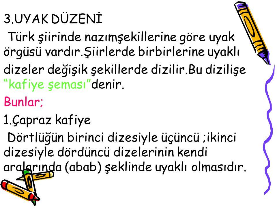 3.UYAK DÜZENİ Türk şiirinde nazımşekillerine göre uyak örgüsü vardır.Şiirlerde birbirlerine uyaklı.