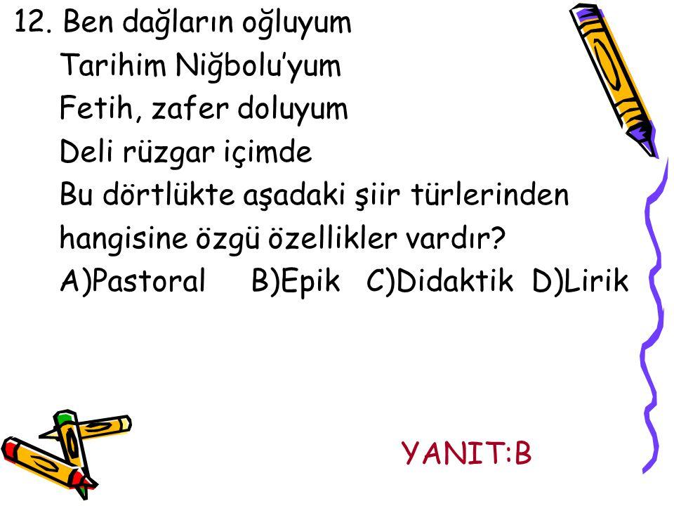 12. Ben dağların oğluyum Tarihim Niğbolu'yum. Fetih, zafer doluyum. Deli rüzgar içimde. Bu dörtlükte aşadaki şiir türlerinden.