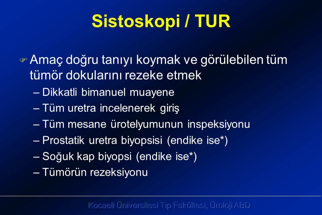 Sistoskopi / TUR Amaç doğru tanıyı koymak ve görülebilen tüm tümör dokularını rezeke etmek. Dikkatli bimanuel muayene.