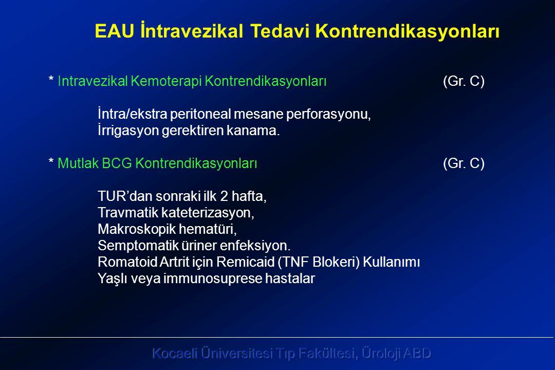 EAU İntravezikal Tedavi Kontrendikasyonları