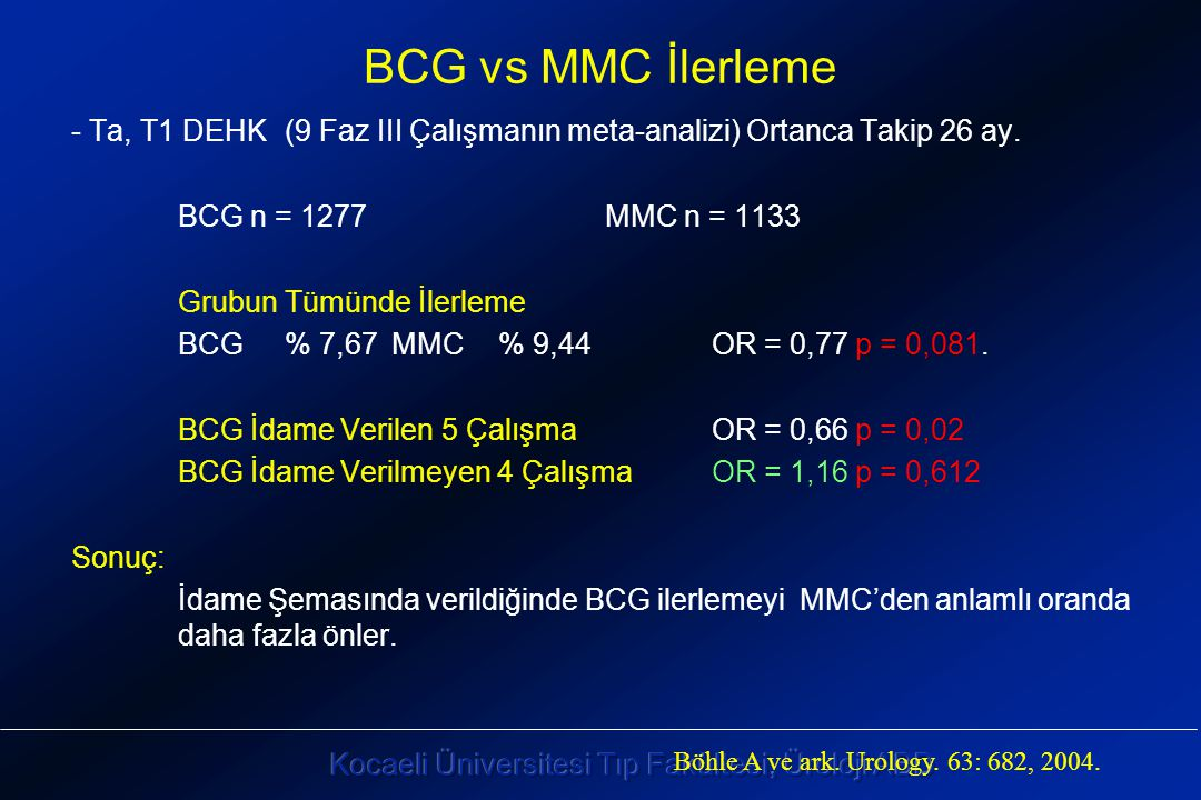BCG vs MMC İlerleme - Ta, T1 DEHK (9 Faz III Çalışmanın meta-analizi) Ortanca Takip 26 ay. BCG n = 1277 MMC n = 1133.