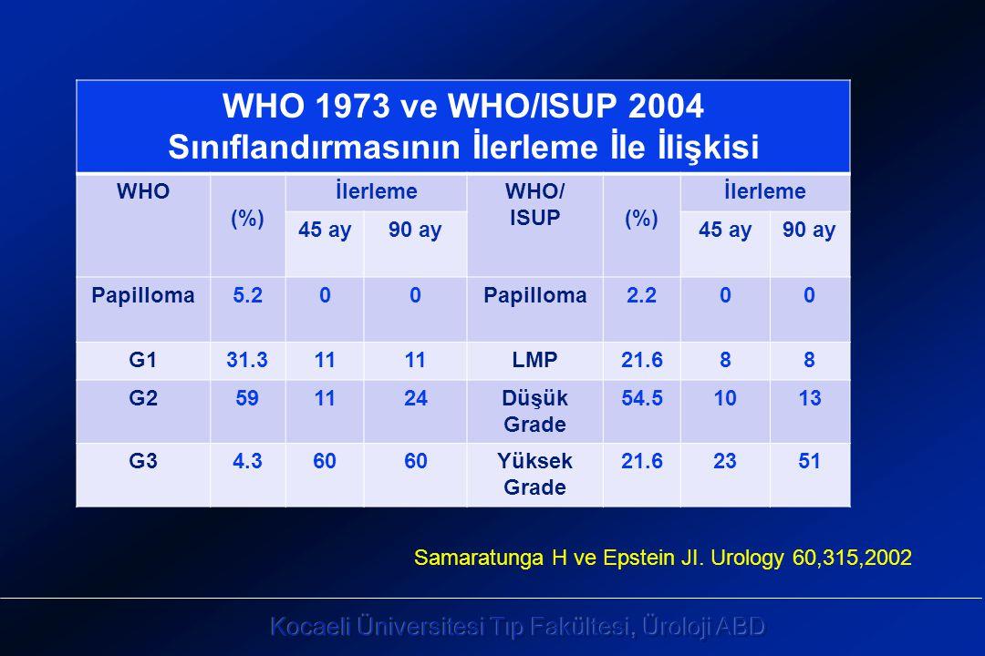 WHO 1973 ve WHO/ISUP 2004 Sınıflandırmasının İlerleme İle İlişkisi