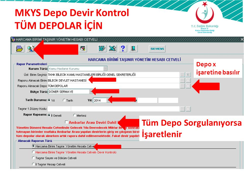 MKYS Depo Devir Kontrol TÜM DEPOLAR İÇİN