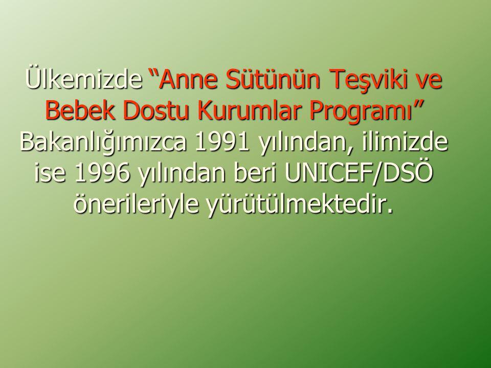 Ülkemizde Anne Sütünün Teşviki ve Bebek Dostu Kurumlar Programı Bakanlığımızca 1991 yılından, ilimizde ise 1996 yılından beri UNICEF/DSÖ önerileriyle yürütülmektedir.