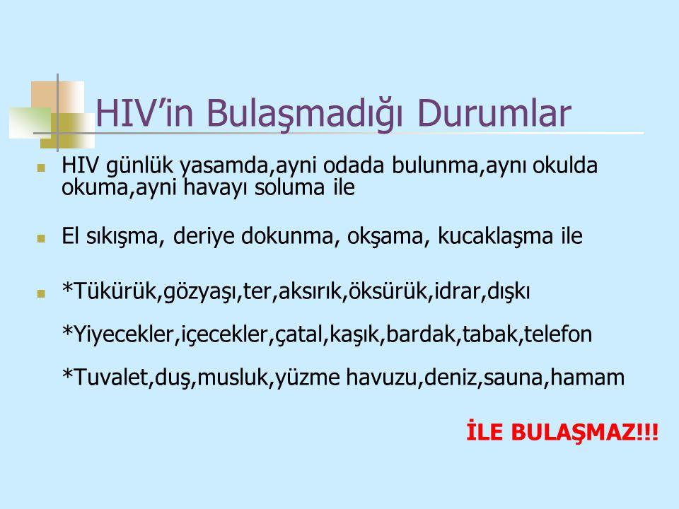 HIV'in Bulaşmadığı Durumlar