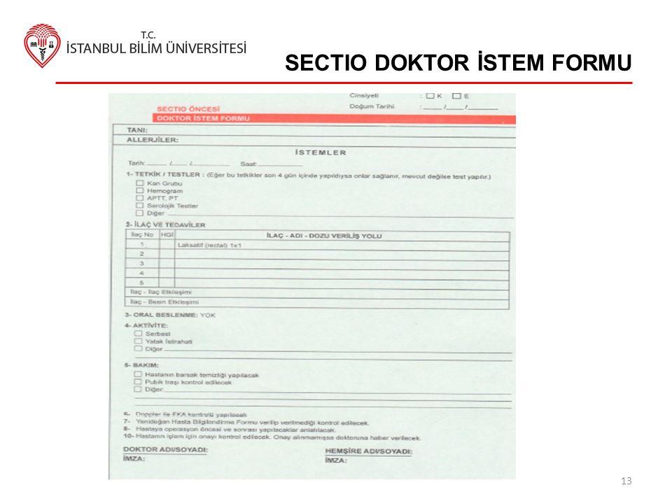 SECTIO DOKTOR İSTEM FORMU