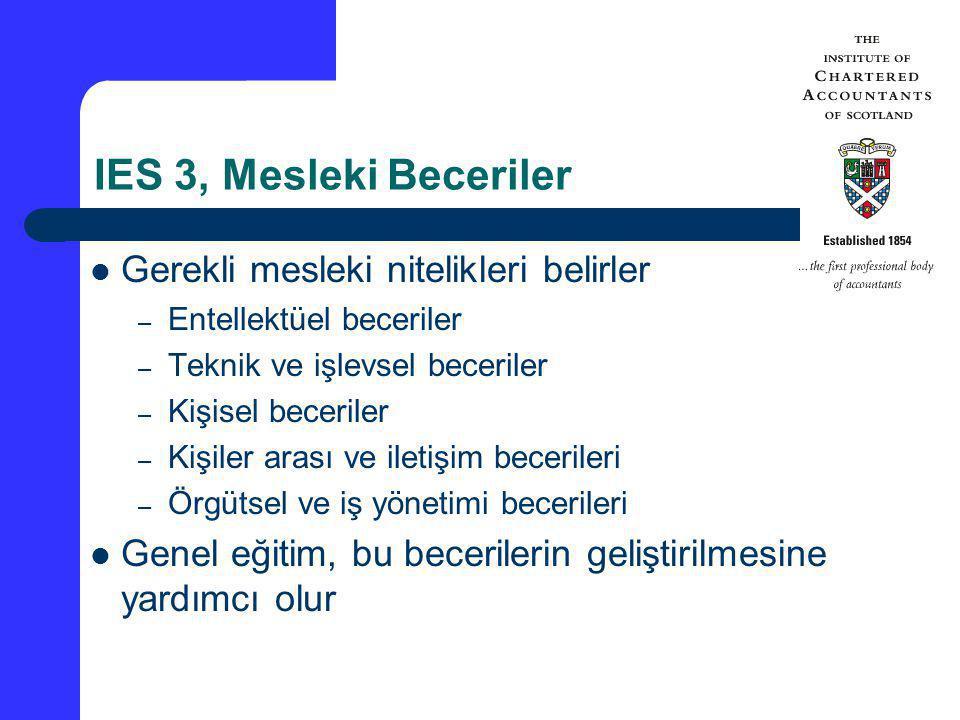 IES 3, Mesleki Beceriler Gerekli mesleki nitelikleri belirler