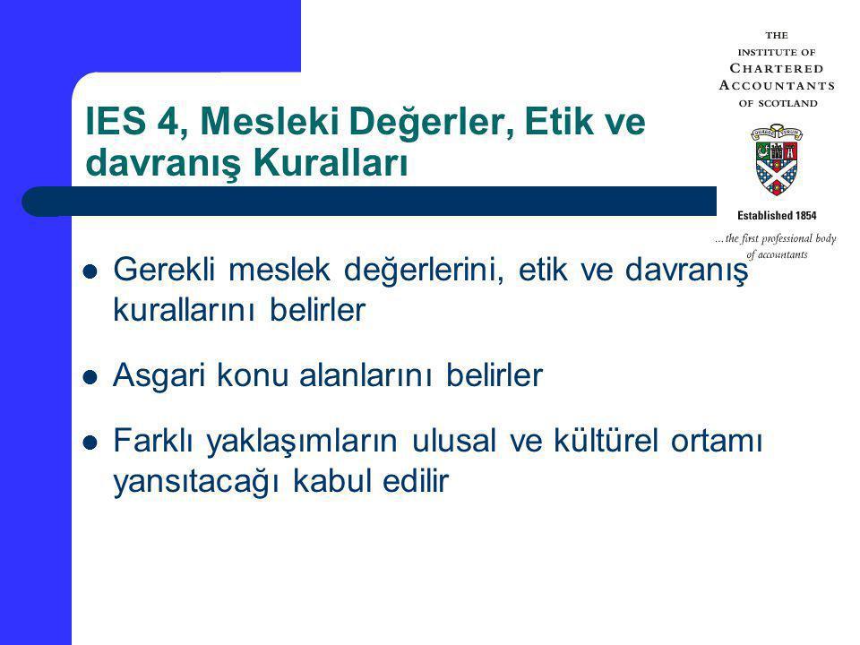 IES 4, Mesleki Değerler, Etik ve davranış Kuralları
