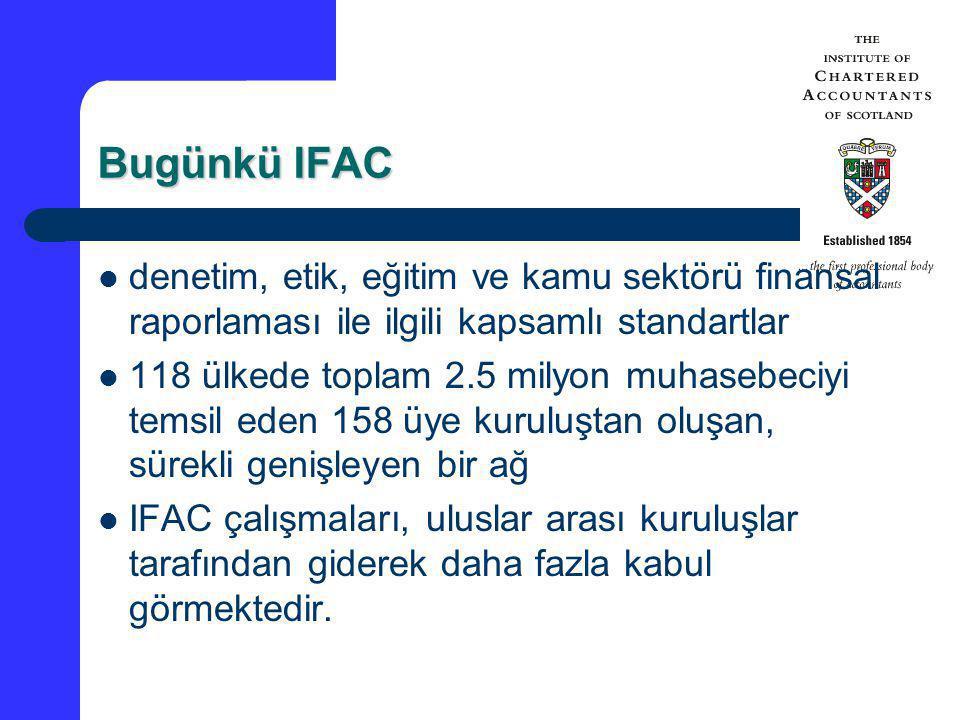 Bugünkü IFAC denetim, etik, eğitim ve kamu sektörü finansal raporlaması ile ilgili kapsamlı standartlar.