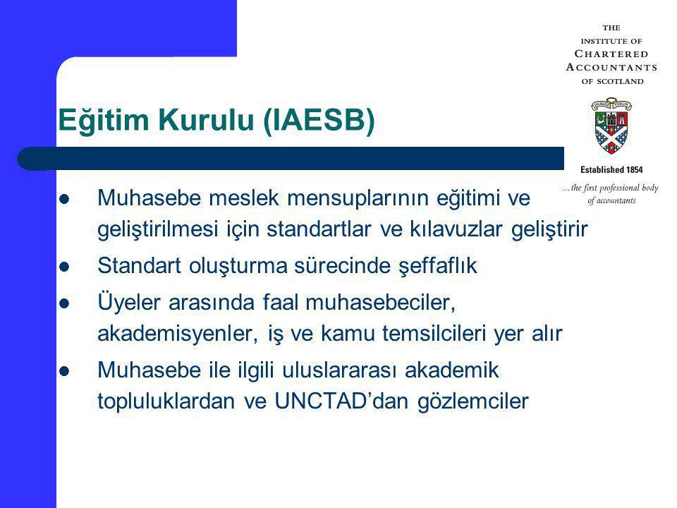 Eğitim Kurulu (IAESB) Muhasebe meslek mensuplarının eğitimi ve geliştirilmesi için standartlar ve kılavuzlar geliştirir.