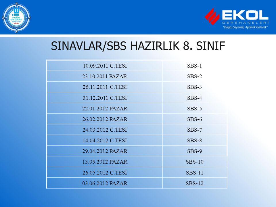 SINAVLAR/SBS HAZIRLIK 8. SINIF