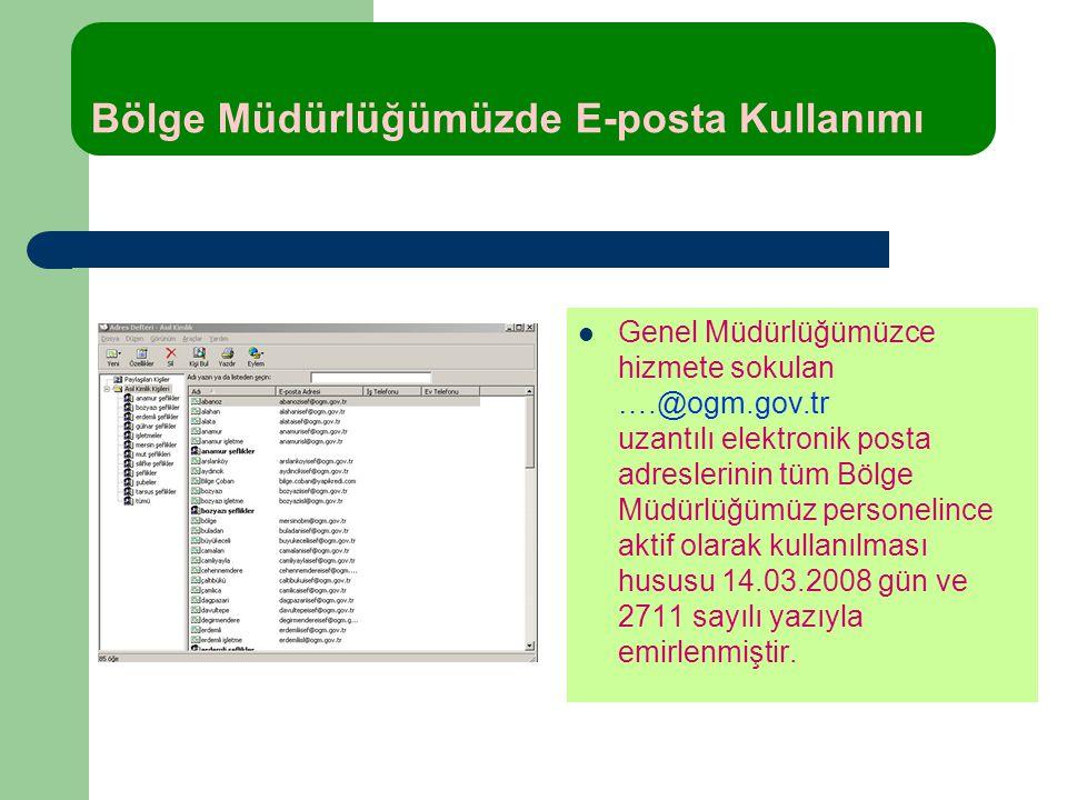 Bölge Müdürlüğümüzde E-posta Kullanımı