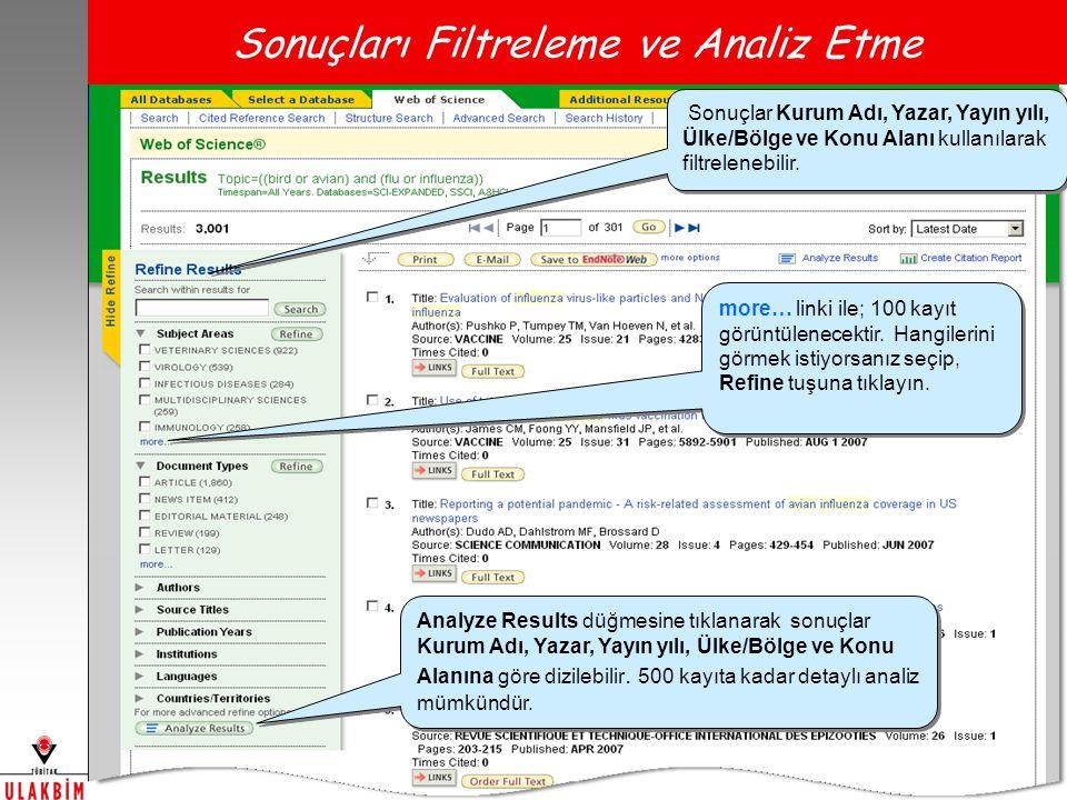 Sonuçları Filtreleme ve Analiz Etme