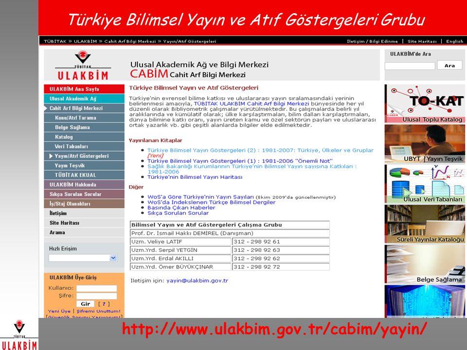 Türkiye Bilimsel Yayın ve Atıf Göstergeleri Grubu