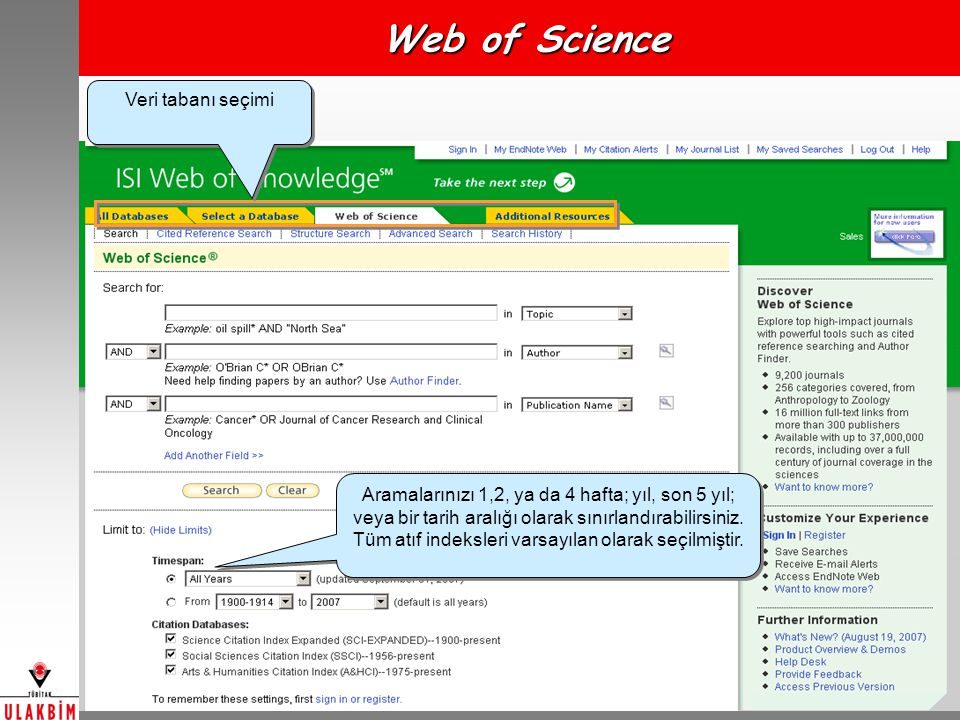 Web of Science Veri tabanı seçimi
