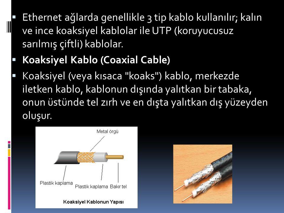 Ethernet ağlarda genellikle 3 tip kablo kullanılır; kalın ve ince koaksiyel kablolar ile UTP (koruyucusuz sarılmış çiftli) kablolar.