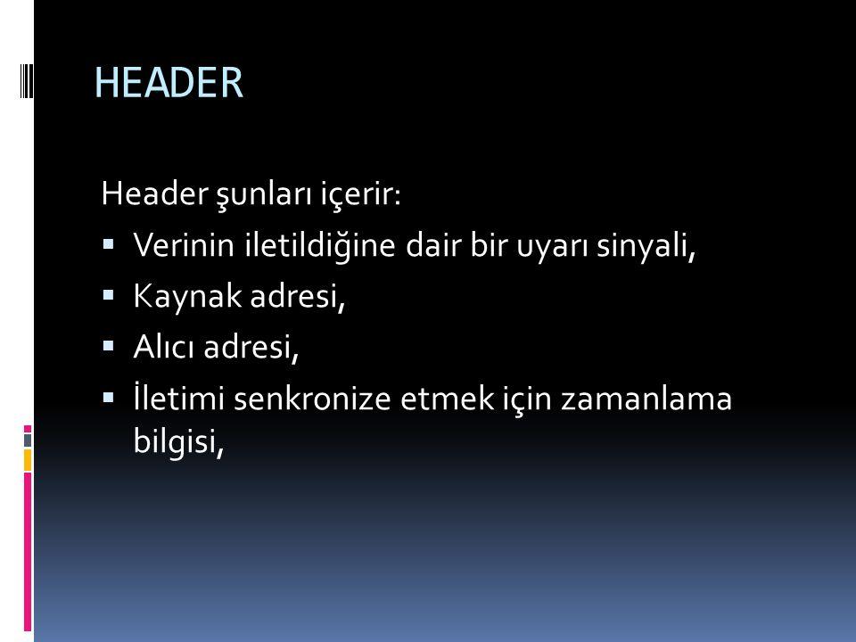 HEADER Header şunları içerir: