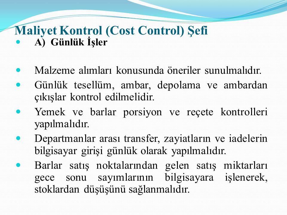Maliyet Kontrol (Cost Control) Şefi
