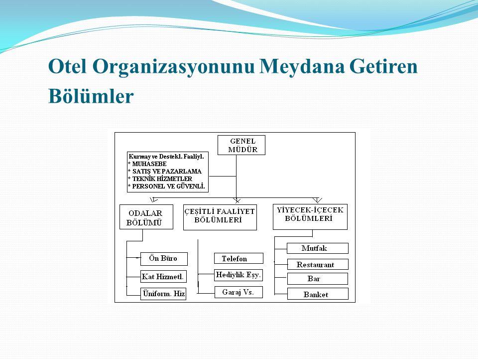 Otel Organizasyonunu Meydana Getiren Bölümler