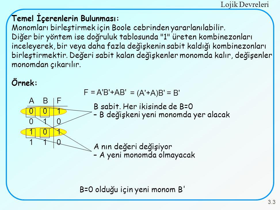 B=0 olduğu için yeni monom B