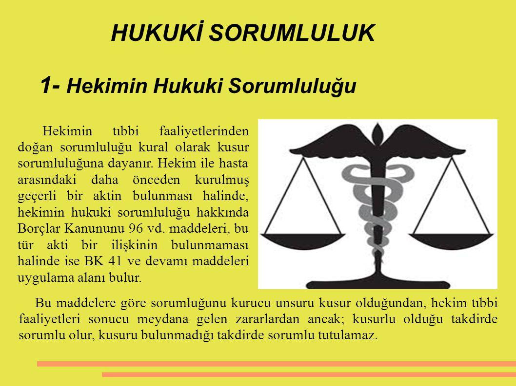 HUKUKİ SORUMLULUK 1- Hekimin Hukuki Sorumluluğu