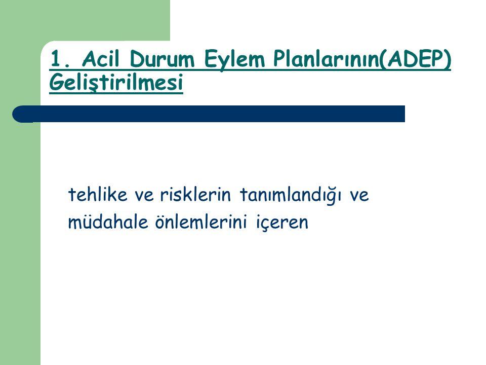 1. Acil Durum Eylem Planlarının(ADEP) Geliştirilmesi