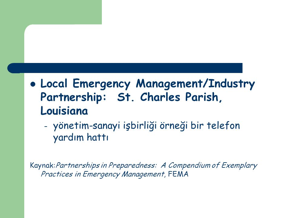 Local Emergency Management/Industry Partnership: St