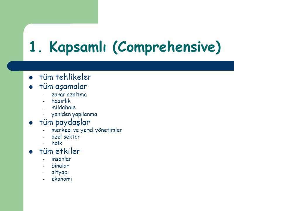 1. Kapsamlı (Comprehensive)